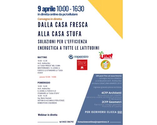 WEBINAR IN DIRETTA - ven. 9 aprile 2021: DALLA CASA FRESCA ALLA CASA STUFA - SOLUZIONI PER L'EFFICIENZA ENERGETICA A TUTTE LE LATITUDINI
