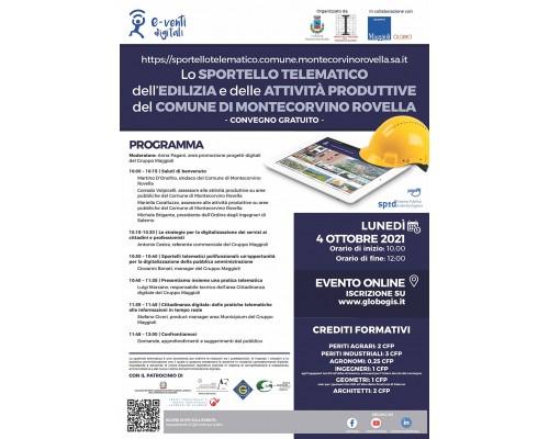 """Comune di Montecorvino Rovella (SA): convegno formativo accreditato gratuito """"Lo sportello telematico dell'edilizia e delle attività produttive"""""""
